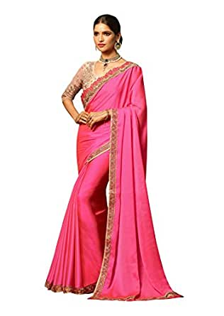 World of style Silk Saree With Blouse Piece (20011_Pink_Free Size)