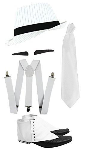 Gangster Kostüm der 1920er Reihe -Zubehör Set Deluxe -Weiße Hosenträger + Weiße Krawatte + Schwarzer Spiv/Schnurrbart + Gamaschen + Weißer Nadelstreifen-Fedora-Hut (Deluxe Kostüm Set)