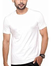 Fleximaa Men's Round Neck Plain T-Shirt White Color
