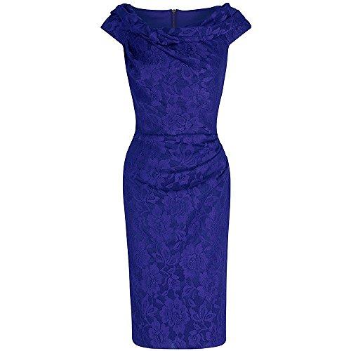 Pretty Kitty Fashion Damen Etui Kleid blau königsblau Gr. 38, königsblau (Kleid Wiggle Pin)