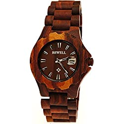 A20Pure Time® Designer Unisex Wood Bracelet in Cherry Wood Brown with Date with Wooden Watch Box