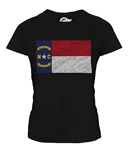 Candymix Bundesstaat North Carolina Kritzelte Flagge Damen T Shirt, Größe X-Small, Farbe Schwarz - Carolina Flagge T-shirt