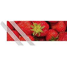 Póster + Soporte: Frutas Póster (91x30 cm) Dulces Fresas Y 1 Lote De 2 Varillas Transparentes 1art1®