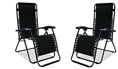 2 x Heavy Duty Textoline Zero Gravity Reclining Garden Sun Lounger Chairs