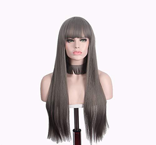DER Lange Perücke gerade Perücken for Frauen synthetische braune Haare mit Pony (braun) Cosplay Farbe als natürliche (Color : Brown, Stretched Length : - Natürliche Rote Göttin Kostüm Perücke
