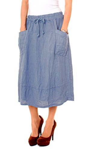 Fragola Moda -  Gonna  - linea ad a - Donna Blu jeans
