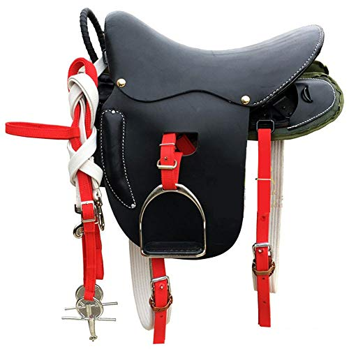 GCSEY Full Set in Pelle Super Horsse Scopare Completa Retro Pratica Equitazione Sella Arredamento Display Saddle Decorazioni Sgabello Pelle Conciata al Vegetale,Nero