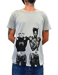 """""""Warhol VS Basquiat"""" FACES T-shirt Hombre Impresión del Manual de la pantalla de agua"""