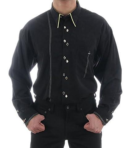 Ausgefallenes Hemd in schwarz, HK Mandel Stylisches Hemd, Normal Nicht Tailliert, 35512 Grösse L