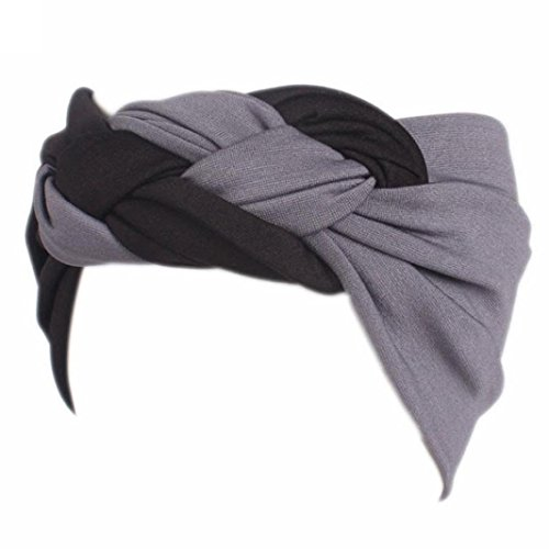 stricken Hut , Kobay Frauen Damen Boho Turban Head Wrap Stirnband Sport breites elastisches Stirnband (E) (Männer Mit Turban Stirnband)