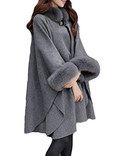 Damen Hooded Faux-Pelz-Mantel Long Strickjacke Lange Ärmel Dicke Wollmischung Graben Outwear...
