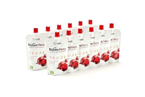 Bio Rüben Herz l Leistungsfähigkeit Blutdruck Blutgefäße I Konzentrierte Rote Beete + Granatapfel + Sauerkirsche + Kräuter & Gewürz + Acerola I 12 x 100 ml Beutel - Bio-rote Herzen