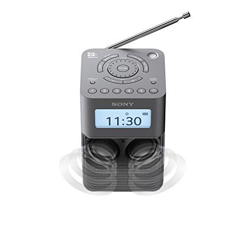 Sony XDR-V20D DAB/DAB+/UKW Radio mit Stereo Lautsprecher (10 Senderspeicher, platzsparendes Design, Akku- & Netzbetrieb, Timer-Weckfunktion) Grau