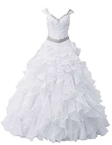 Dresstells Damen Bodenlang Organza Hochzeitskleid Glitzer V-Ausschnitt Ärmellose Abschlussballkleider Weiß Größe