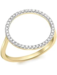 Carissima Gold Women's 9 ct Yellow Gold 0.20 ct Diamond Circle Ring
