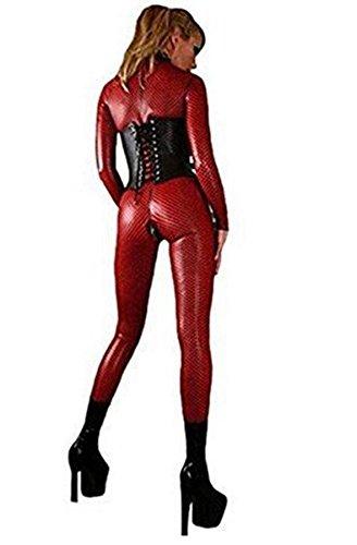 NEIYI 2 Way Zip Sexy Wetlook Catsuit Female Latex Bodysuit, ()