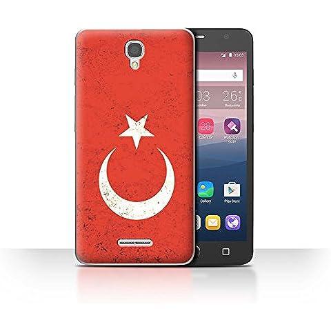 Custodia/Cover/Caso/Cassa Rigide/Prottetiva STUFF4 stampata con il disegno Bandiere per Alcatel Pop Star 3G -