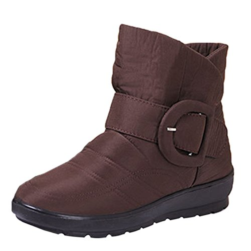 Yiiquan Donna Flats Scarpe Stivaletti Calde Pelliccia Stivali da Neve Invernali Boots Impermeabile Marrone