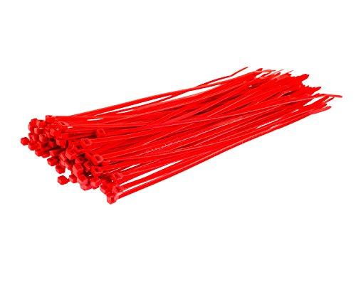 Gocableties - Bridas para cables (200 mm x 4,8 mm, nailon, resistentes, de alta calidad, 1000 unidades), rojo