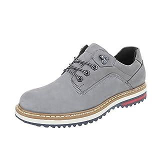 Schnürschuhe Leder Herren-Schuhe Oxford Schnürer Schnürsenkel Ital-Design Halbschuhe Grau, Gr 47, Tnk-100-
