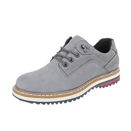 Schnürschuhe Leder Herren-Schuhe Oxford Schnürer Schnürsenkel Ital-Design Halbschuhe Grau, Gr 43, Tnk-100-