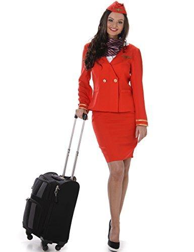 Karnival 81049Flugbegleiterinnen Kostüm, Frauen, rot, extra (Air Hostess Kostüm Hut)