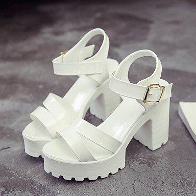 LvYuan Da donna Sandali Comoda Gomma Estate Footing Comoda Fibbia Quadrato Bianco Nero Meno di 2,5 cm White