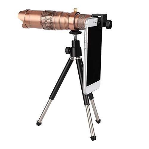 ASHATA 22X Clip-On Tele Teleskop Kamera, Handy Objektiv 22X Zoom Mikroskop Teleobjektiv,Tragbar Teleskop Kamera Handy Zoom Objektiv mit Bluetooth-Fernbedienung für iPhone/Smartphone(Rotkupfer)