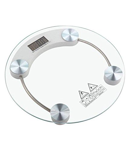 Elios Round Thick Tempered Glass Electronic Digital Body Weight Weighing Scale  available at amazon for Rs.550