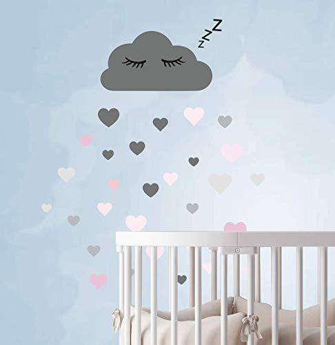 60 Teile Wolken mit Gesicht Wandtattoo Kinderzimmer Set - Rauhfaser Wandsticker Pastell Farben Baby Tapete Sticker zum Kleben, Wandaufkleber Sleepy Eye Wanddeko, Wandfolie, Kleinkinder, Mädchen Grau