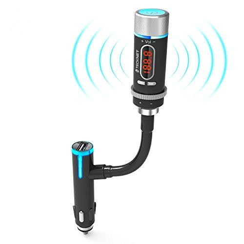 TeckNet® Trasmettitore FM Audio Wireless Bluetooth con Chiamate a Mani Libere e Microfono Incorporato per (Frequenza Completa Trasmettitore Fm)