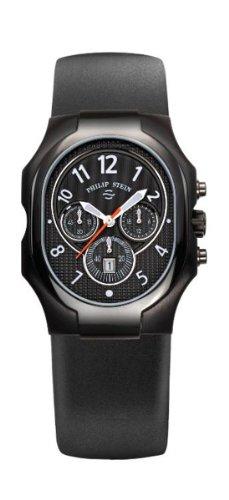 Philip Stein - 23B-NBO-RB - Montre Homme - Quartz Analogique - Cadran Noir - Bracelet Silicone Noir