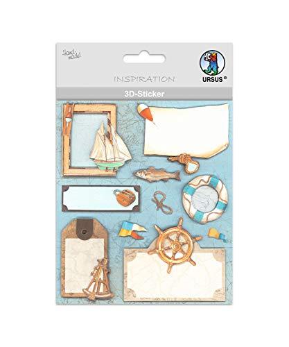 3D Sticker, selbstklebend, ideal zur Kartengestaltung zum Dekorieren von Anhängern und Geschenken und verzieren von Lichterketten, mit verschiedenen maritimen Motiven