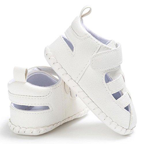 BZLine® Baby Sommer Kleinkind Leder rutschfest Sneakers Baby Sandalen Weiß