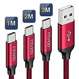 Cavo USB C, RAVIAD [3Pezzi, 1m 2m 3m] Nylon Cavo USB Type C di Ricarica Trasmissione e Ricarica Rapida per Samsung Galaxy S10/ S9/ S8 Plus Note 9 8, Huawei P20 Mate20, Google Pixel, Sony Xperia XZ