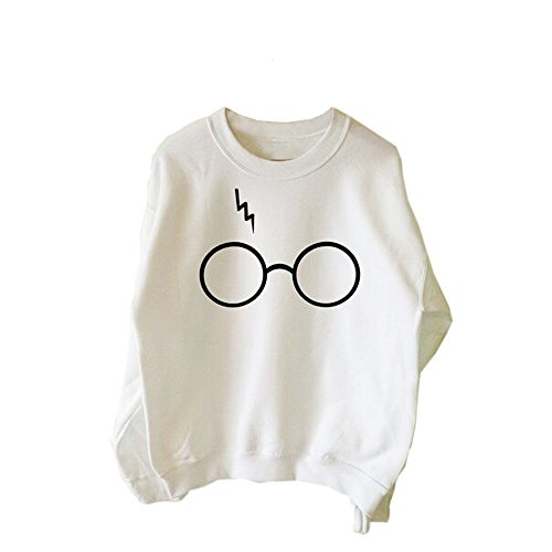 Sunnywill Lange Ärmel Mode Langarm t-Shirt mit Tops lässige Bluse Top Bluse für Mädchen Damen Weiß