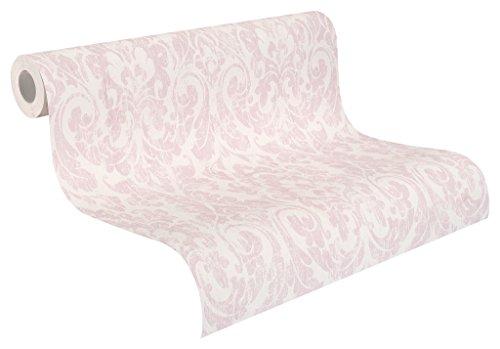 Rasch Tapeten Rasch Vlies-Tapete, rosa Ornamente auf Beigem Grund, Shabby Chic, Souvenir, 516227, Pink