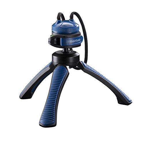 Mantona kaleido Gaia leichtes Mini Tisch und Handstativ (geeignet für Spiegelreflex, Digitalkameras und Camcorder) ocean blue
