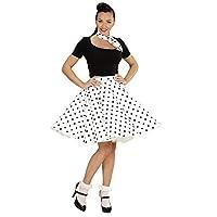 4b1b36fe0f Questo costume anni 50 per donna è composto da una gonna semi lunga bianca  a pois