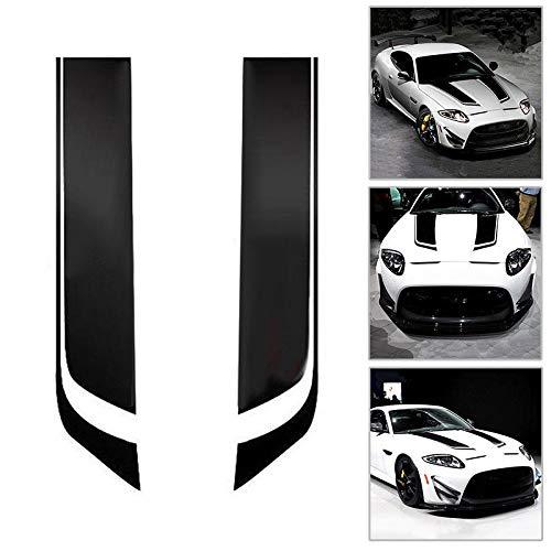 omufipw Auto Racing Motorhaube Streifen Aufkleber Vinyl wasserdicht DIY dekorative Aufkleber schwarz 2St -