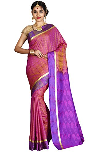 Arars Women's Artificial Silk Saree With Blouse Piece (Pmb01 Strawberry_Starwberry)