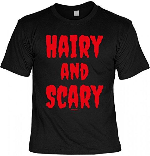 Infinite Outfits Unisex T-Shirt Zu Halloween - Hairy - and - Scary - Geschenk-Idee zur gruseligsten Zeit Des Jahres in Farbe: Schwarz, Größe:XL
