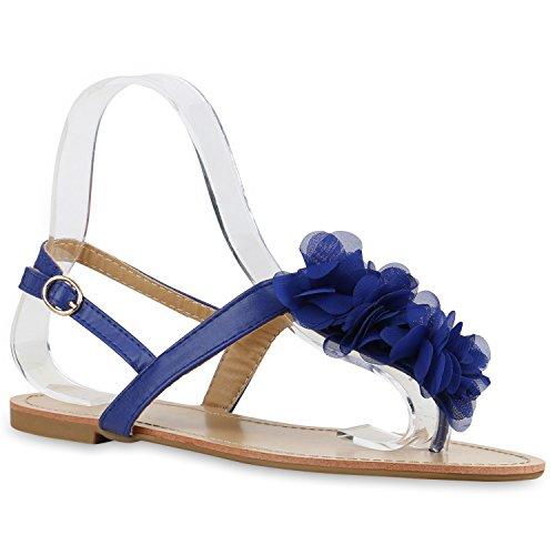 Damen Sandalen Zehentrenner Sommer Schuhe Flats Blumen Blau Flower