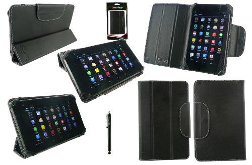 Emartbuy® Schwarz Eingabestift + Schwarz Universal-Tri-Fold Ultra Slim Mappen Kasten Abdeckung Geeignet für AlpenTab 7 Zoll Tablet PC