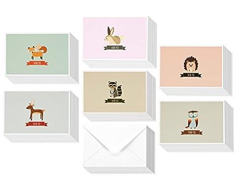 meilleurs vœux de papier Woodland carte de remerciement Motif animaux Bulk Box Set avec enveloppes, 10,2x 15,2cm (lot de 48)