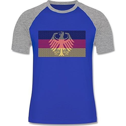 EM 2016 - Frankreich - Deutschland Flagge Schrift - zweifarbiges  Baseballshirt für Männer Royalblau/Grau