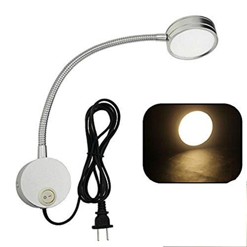 Hangang Flexible Plug Wired LED Wandleuchte, 5W Schwanenhals Wandlampe Wandleuchte mit Schalter und Grundplatte, für Schlafzimmer, Kinderzimmer oder Wohnzimmer etc. (Silber, Warmes Licht)