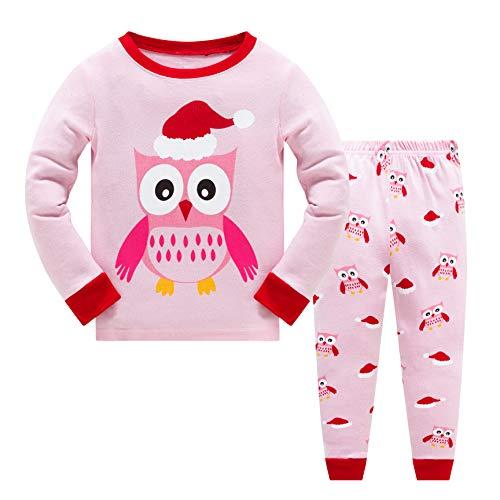 Garsumiss Bambine Natale Set Pigiama Bambini Natale Pjs Pigiama Toddler Santa Vestiti Unisex Inverno Abbigliamento da Notte Christmas Owl 7 Anni
