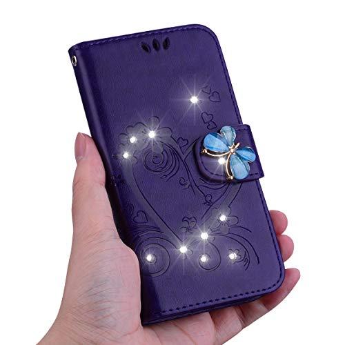 KM-Panda Kompatibel für Apple iPhone 7 Plus 8 Plus Leder Hülle Tasche Herz Schmetterling Diamant Glitzer Lila Schutzhülle Handytasche Handyhülle Lederhülle Flip Case - Apple Iphone Schwarz Holster
