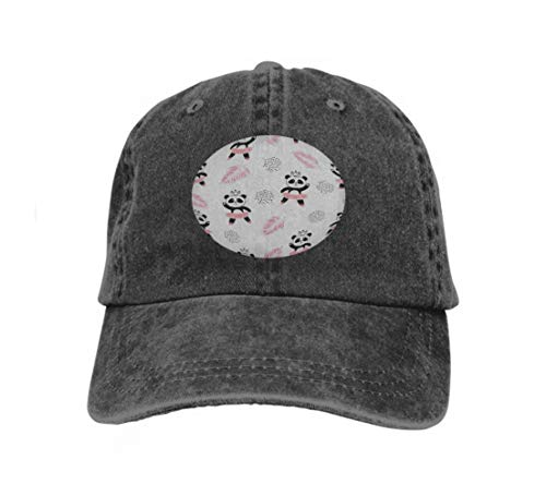 Xunulyn Vintage Denim Cap Hat Adjustable Sports Trucker Baseball Hat Cute Panda Ballerinas Background Kids Design Paintings Black